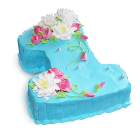 Детский торт на год в голубом цвете и украшенный цветами