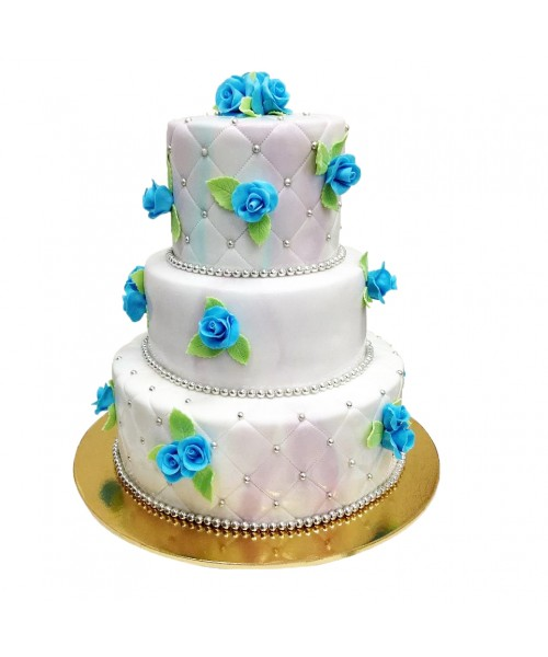 Торт свадебный белый с голубыми розами