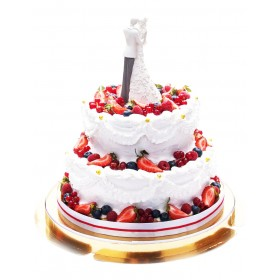Торт свадебный двухъярусный со свежими ягодами и фигуркой
