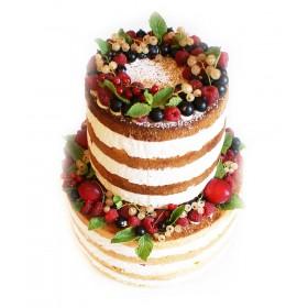 Одноярусный открытый шоколадно-ванильный свадебный торт с разнообразными ягодами