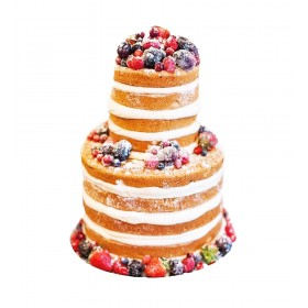 Двухъярусный свадебный торт с открытым бисквитом и ассорти из ягод