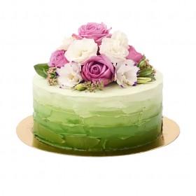 Одноярусный бело-зеленый свадебный торт с цветами сверху