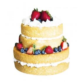 Двухъярусный бисквитный торт, украшенный заварным кремом и свежими ягодами клубникой и голубикой