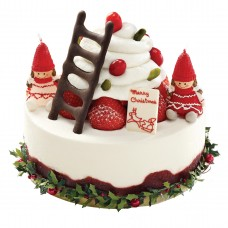 Торт  на Новый год с фигурками девушек украшающих елку