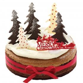 Торт  на Новый год зимний лес из елок