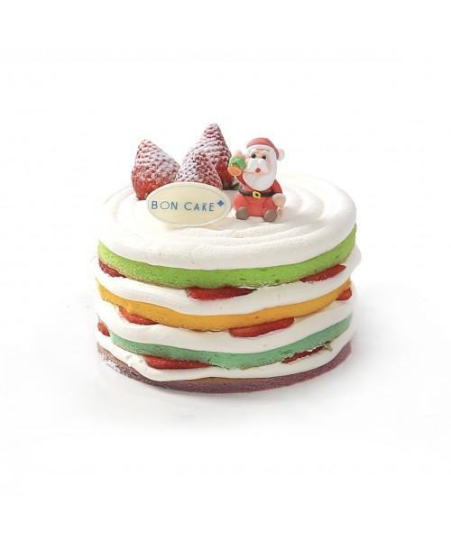 Торт  на Новый год украшенный фигурой Санта Клаус с колокольчиком