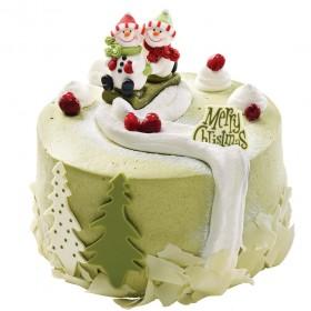 Торт  на Новый год снеговики катаются на санках