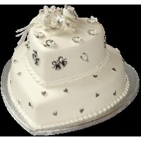 Торт свадебный белый с кольцами и колокольчиками