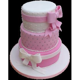 Детский торт с белым и розовым бантами