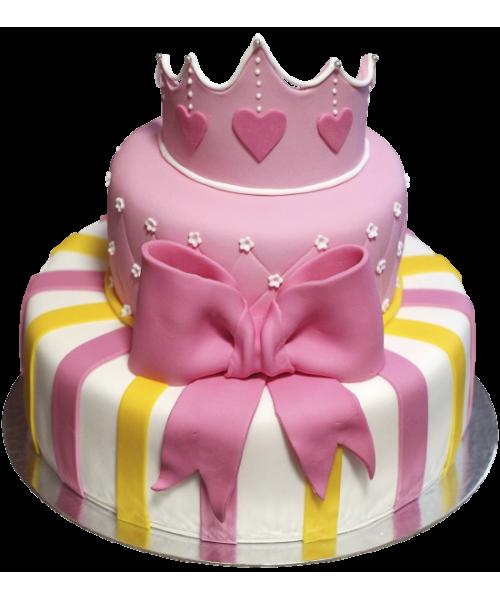 Детский торт с короной и бантом