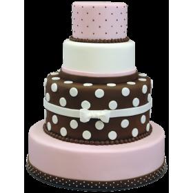 Детский торт розово-коричневый в горошек