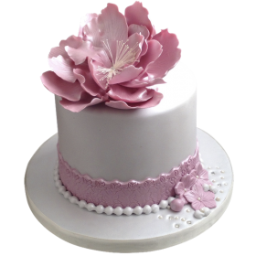 Торт праздничный с большим цветком фиолетово розового цвета
