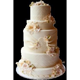 Торт Свадебный белый в клетку с цветами