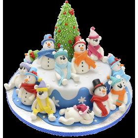 Торт на Новый Год с 12 снеговиками