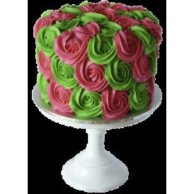 Торт праздничный с цветами из крема