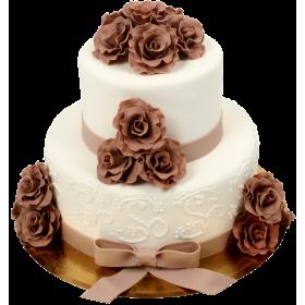 Торт Свадебный белый с шоколадными розами