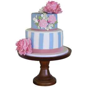 Разноцветный двухъярусный свадебный торт с множеством пионов