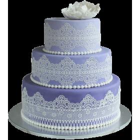 Фиолетовый свадебный торт с белыми узорами и белым цветком сверху
