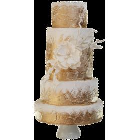 Золотисто-белый четырехъярусный свадебный торт с цветком