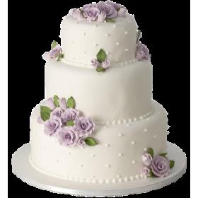 Белый трехъярусный свадебный торт с фиолетовыми розами