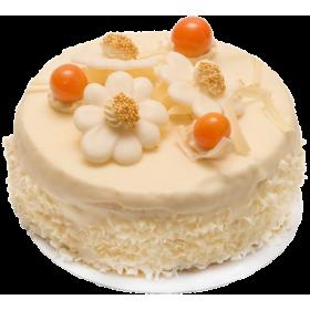 Торт праздничный украшенный белым шоколадом и ягодами физалиса