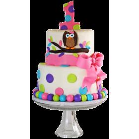 Детский торт на Годик с совами
