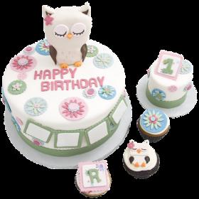 Детский торт с совами