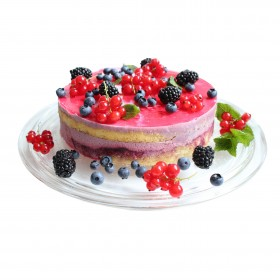 Торт праздничный украшенный смородиной, черникой, ежевикой