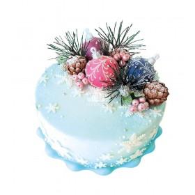 Торт на Новый год небесного цвета с шишками