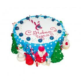 Новогодний торт украшенный синим кремом и фигурами деда мороза снеговик елка