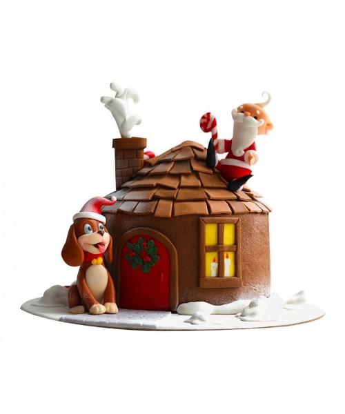Новогодний торт Санта Клаус на крыше дома