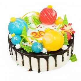 Торт на Новый год  с разноцветными шарами