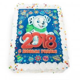 Торт на Новый год прямоугольный с фотопечатью символа года