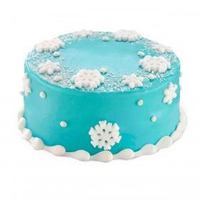 Торт на Новый год со снежинками