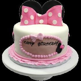 Детский торт с ушками микки мауса и бантом