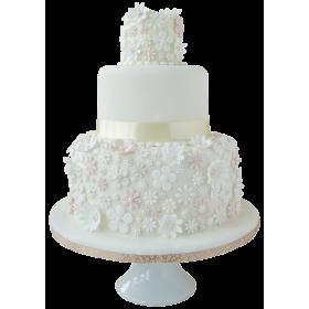 Торт Свадебный белый с мелкими цветами