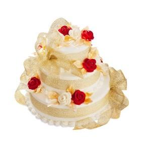 Торт с красными и белыми розами