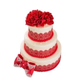 Торт в три яруса «Свадебный с красным цветком»