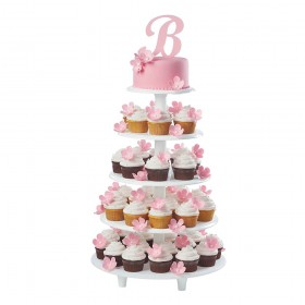 Свадебный торт с капкейками собранными на подставке