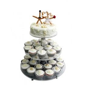 Одноярусный свадебный торт с веселыми человечками и капкейками