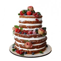 Открытый свадебный торт в два яруса украшенный свежими ягодами и живыми цветами